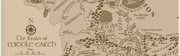 carte tolkien lord of the rings / le seigneur des anneaux