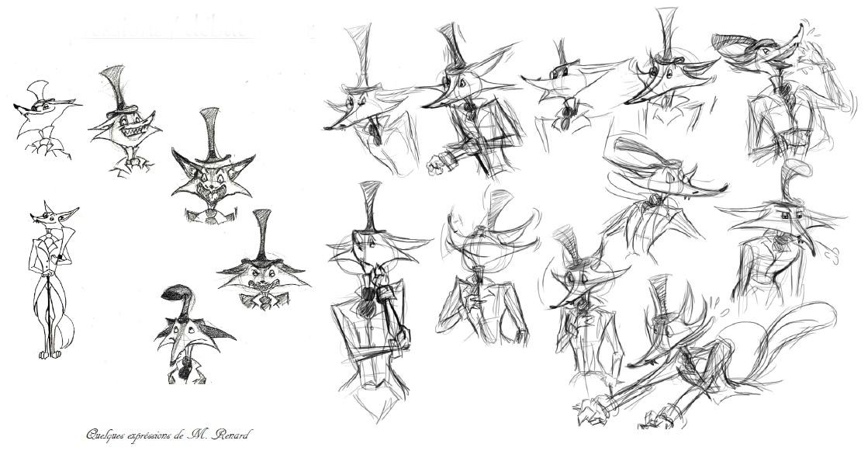 M.renard début acting character design
