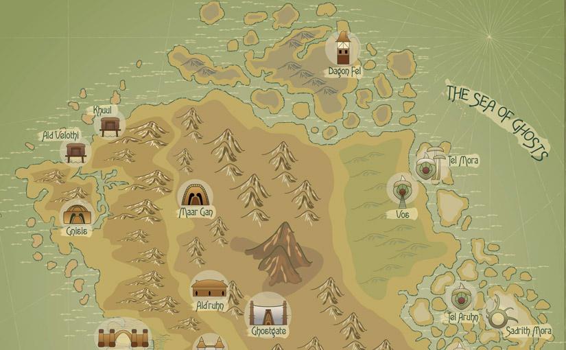 Carte de l'île principale de Morrowind / Illustrator / 1ère année Animation