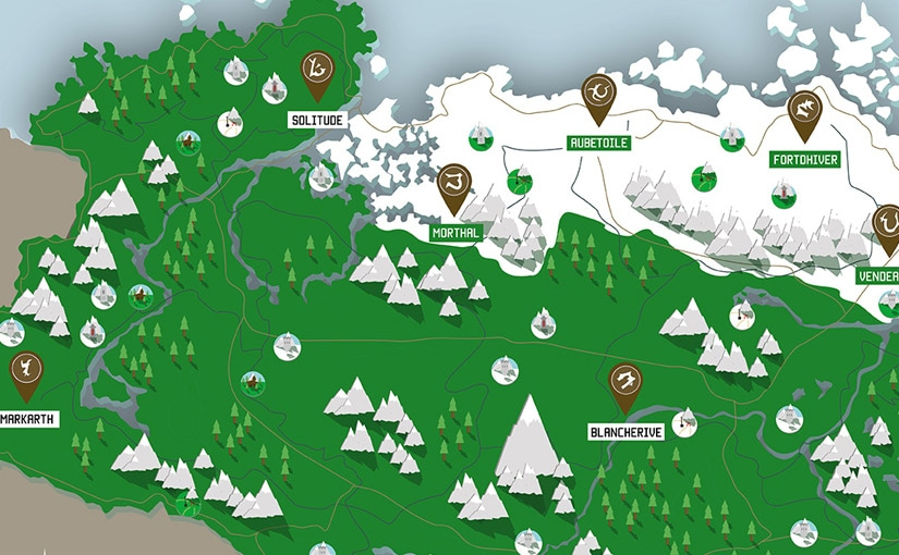 Carte de Skyrim / Illustrator / 1ère année Animation