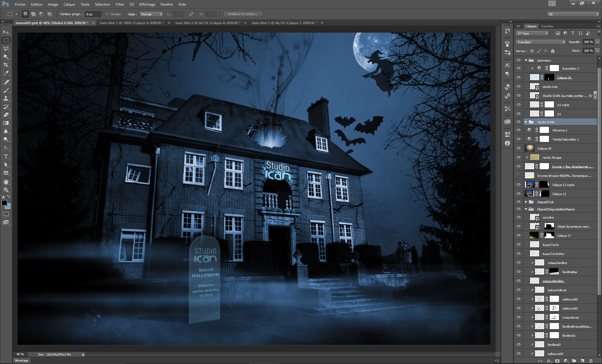 compositing maison hantée photoshop